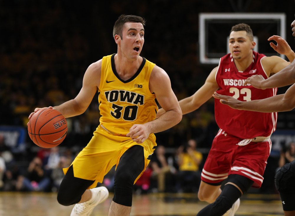 Iowa Hawkeyes guard Connor McCaffery (30) against the Wisconsin Badgers Friday, November 30, 2018 at Carver-Hawkeye Arena. (Brian Ray/hawkeyesports.com)