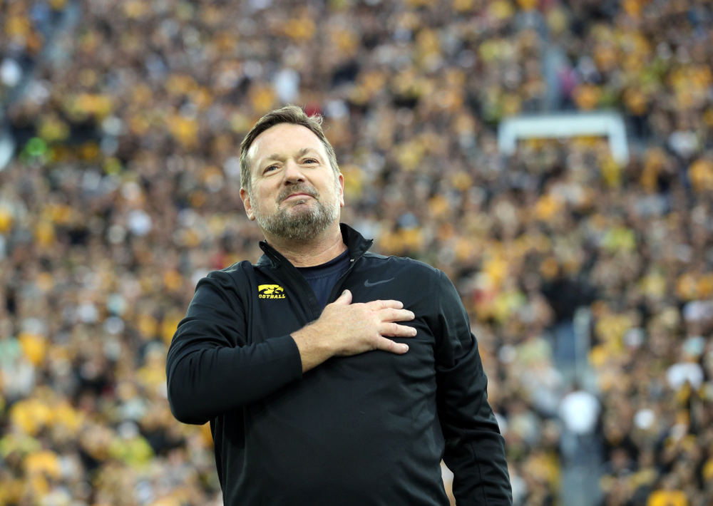 Honorary Captain Bob Stoops before the Iowa Hawkeyes game against the Miami RedHawks Saturday, August 31, 2019 at Kinnick Stadium in Iowa City. (Brian Ray/hawkeyesports.com)