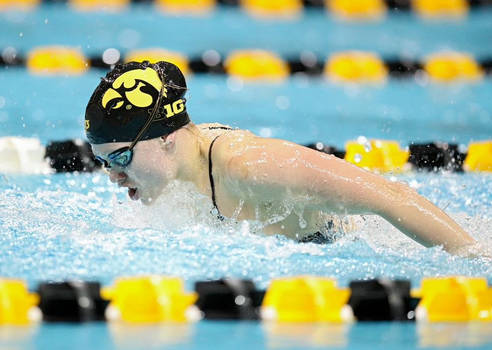 Iowa's Lauren McDougall swims the butterfly section in the women's 400 yard medley relay event during their meet at the Campus Recreation and Wellness Center in Iowa City on Friday, February 7, 2020. (Stephen Mally/hawkeyesports.com)