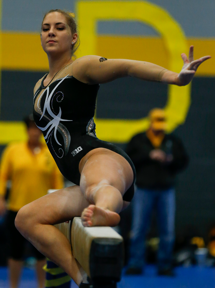 Emma Hartzler competes on the balance beam during the Black and Gold Intrasquad meet at the Field House on 12/2/17. (Tork Mason/hawkeyesports.com)