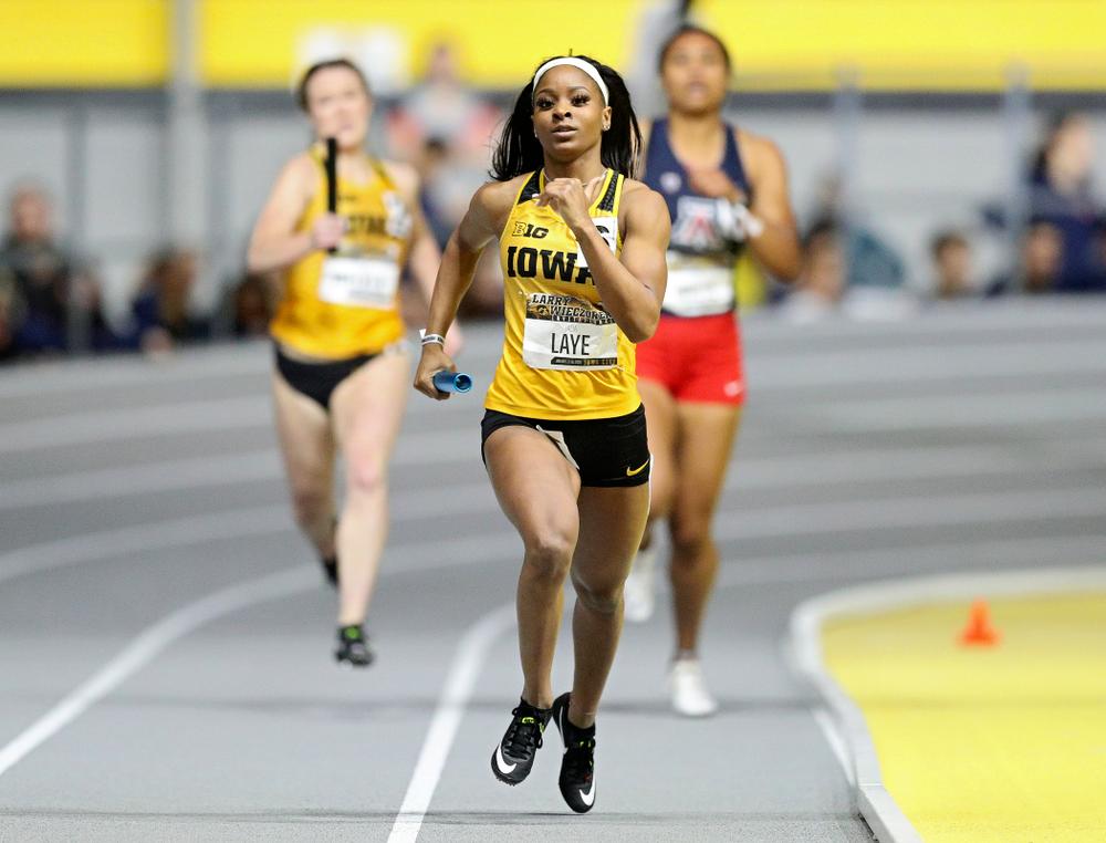 Iowa's Jada Laye runs the women's 1600 meter relay event during the Larry Wieczorek Invitational at the Recreation Building in Iowa City on Saturday, January 18, 2020. (Stephen Mally/hawkeyesports.com)