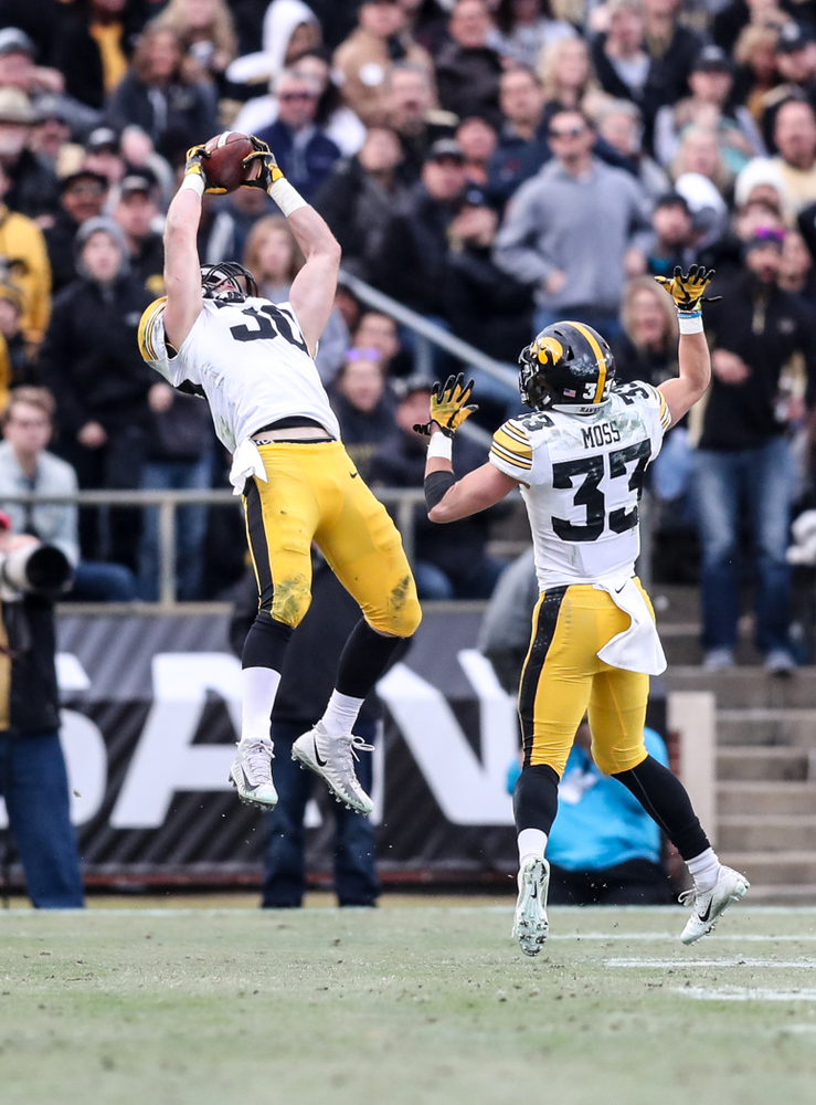 Iowa Hawkeyes defensive back Jake Gervase (30) intercepts a pass against the Purdue Boilermakers Saturday, November 3, 2018 Ross Ade Stadium in West Lafayette, Ind. (Max Allen/hawkeyesports.com)
