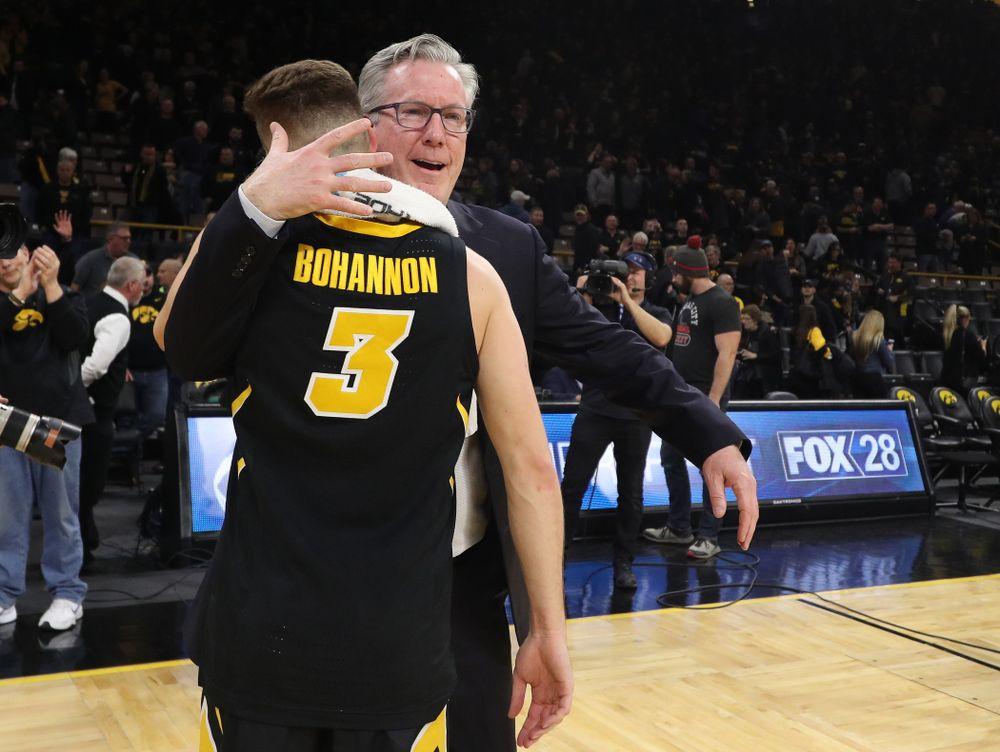Iowa Hawkeyes guard Jordan Bohannon (3) and head coach Fran McCaffery against the Indiana Hoosiers Friday, February 22, 2019 at Carver-Hawkeye Arena. (Brian Ray/hawkeyesports.com)