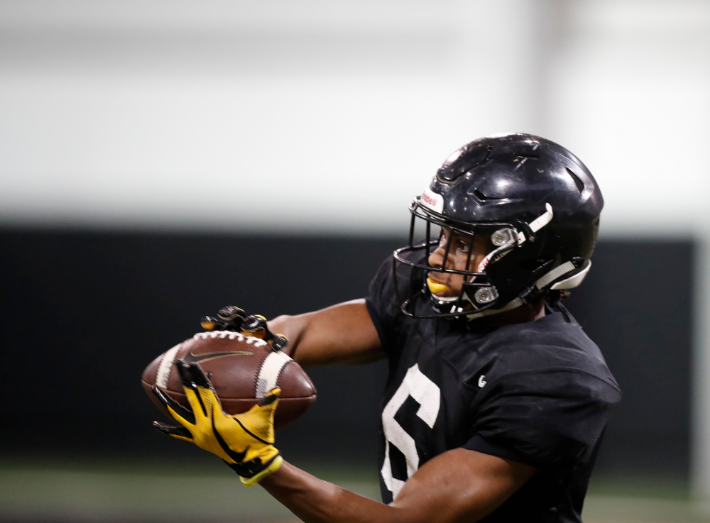 Iowa Hawkeyes wide receiver Ihmir Smith-Marsette (6) during spring practice No. 13 Wednesday, April 18, 2018 at the Hansen Football Performance Center. (Brian Ray/hawkeyesports.com)