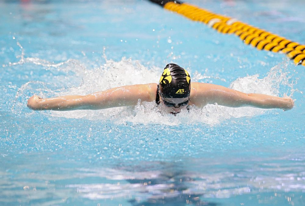 Iowa's Kelsey Drake swims the women's 100 yard butterfly final event during the 2020 Women's Big Ten Swimming and Diving Championships at the Campus Recreation and Wellness Center in Iowa City on Friday, February 21, 2020. (Stephen Mally/hawkeyesports.com)