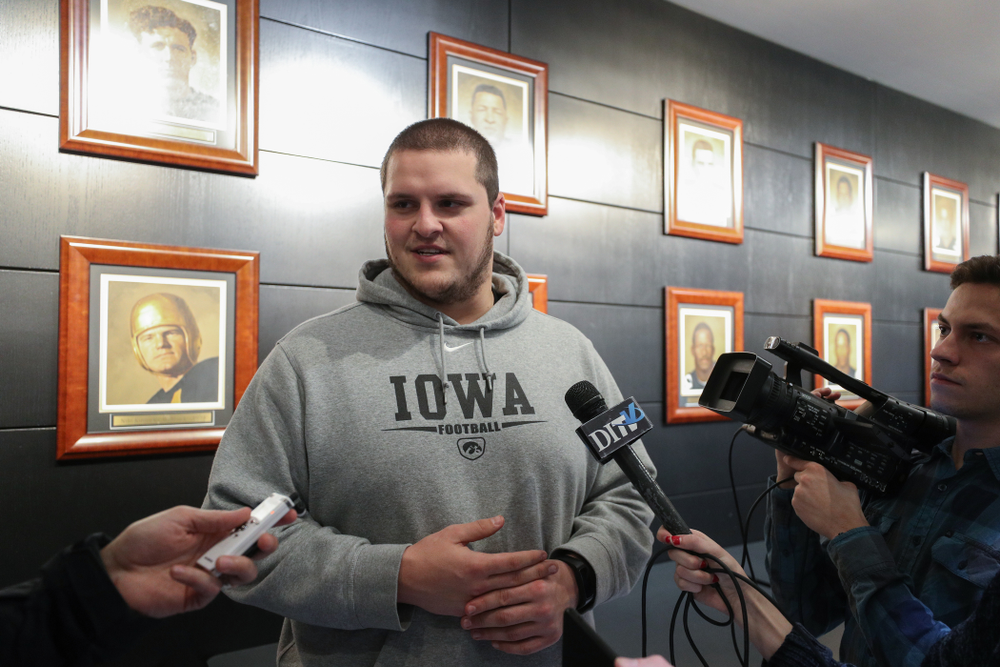 Iowa Hawkeyes offensive lineman Keegan Render (69) addresses the media about the Hawkeyes selection to face Mississippi State in the Outback Bowl Sunday, December 2, 2018 at the Hansen Football Performance Center. (Brian Ray/hawkeyesports.com)