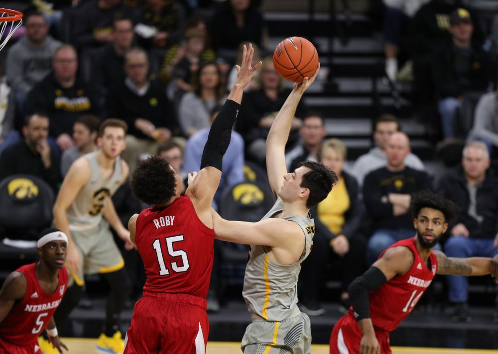 Iowa Hawkeyes forward Ryan Kriener (15) against the Nebraska Cornhuskers Sunday, January 6, 2019 at Carver-Hawkeye Arena. (Brian Ray/hawkeyesports.com)
