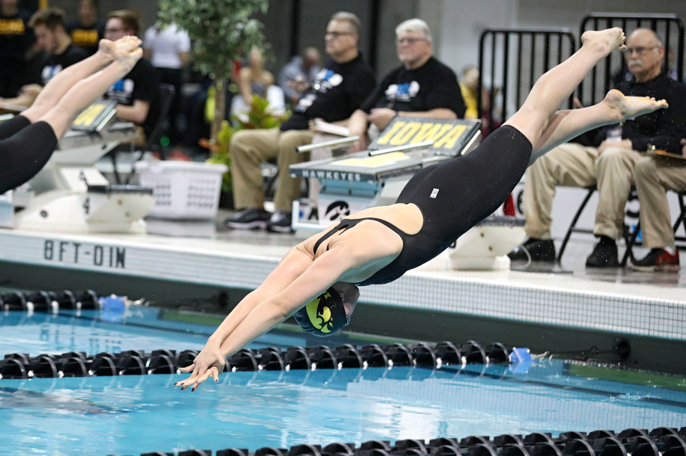 Iowa's Hannah Burvill swims the women's 200 yard freestyle final event during the 2020 Women's Big Ten Swimming and Diving Championships at the Campus Recreation and Wellness Center in Iowa City on Friday, February 21, 2020. (Stephen Mally/hawkeyesports.com)