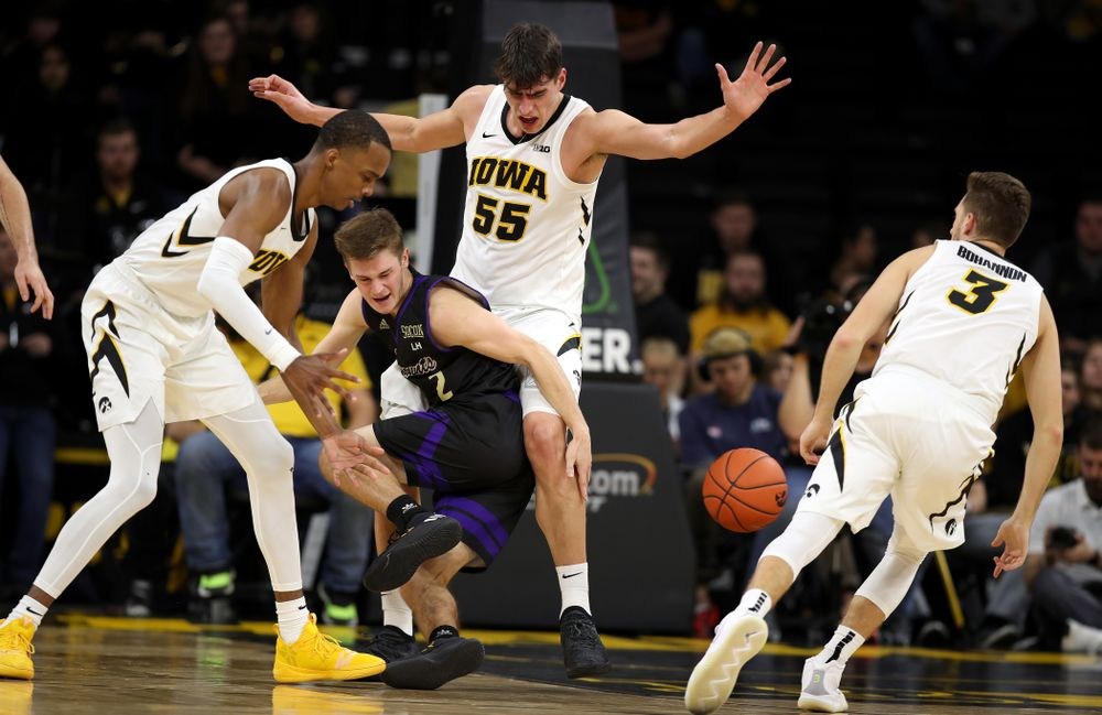 Iowa Hawkeyes guard Maishe Dailey (1), and forward Luka Garza (55) against the Western Carolina Catamounts Tuesday, December 18, 2018 at Carver-Hawkeye Arena. (Brian Ray/hawkeyesports.com)