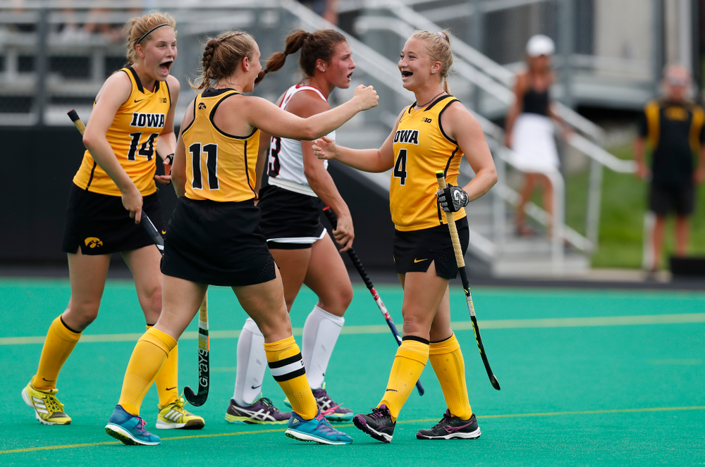 Iowa Hawkeyes Makenna Grewe (4) and Katie Birch (11) against Ball State Sunday, September 2, 2018 at Grant Field. (Brian Ray/hawkeyesports.com)