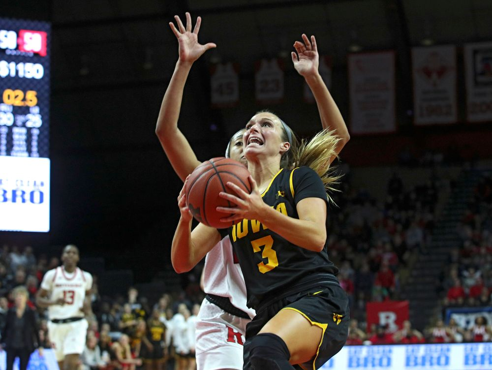 Iowa guard Makenzie Meyer (3) makes a basket during the second quarter of their game at the Rutgers Athletic Center in Piscataway, N.J. on Sunday, March 1, 2020. (Stephen Mally/hawkeyesports.com)