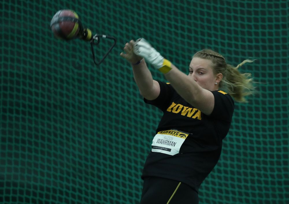 Iowa's Allison Wahrman competes in the weight throw Friday, January 11, 2019 at the Hawkeye Tennis and Recreation Center. (Brian Ray/hawkeyesports.com)