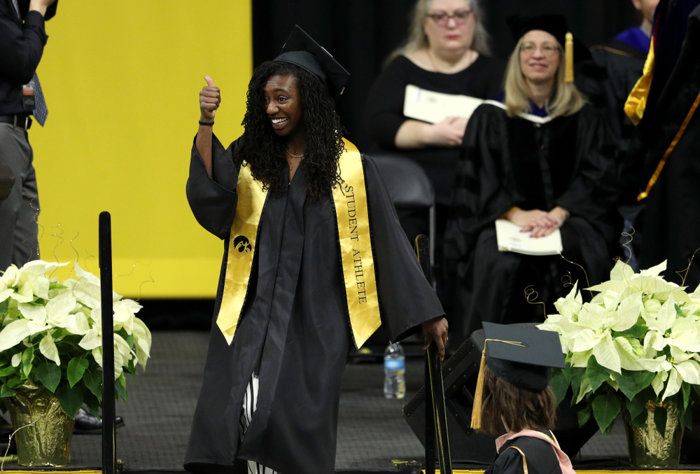 Iowa Track's Jahisha Thomas during the Fall Commencement Ceremony  Saturday, December 15, 2018 at Carver-Hawkeye Arena. (Brian Ray/hawkeyesports.com)