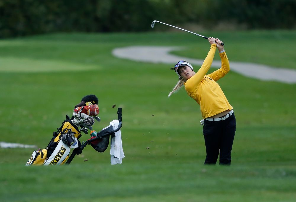 Iowa's Shawn Rennegarbe hits an approach shot during the Diane Thomason Invitational at Finkbine Golf Course on September 29, 2018. (Tork Mason/hawkeyesports.com)