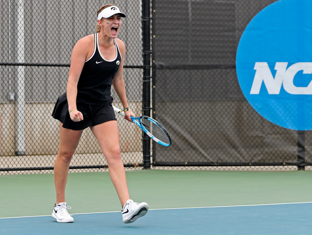 Iowa's Ashleigh Jacobs celebrates a score during their doubles match against Rutgers at the Hawkeye Tennis and Recreation Complex in Iowa City on Friday, Apr. 5, 2019. (Stephen Mally/hawkeyesports.com)