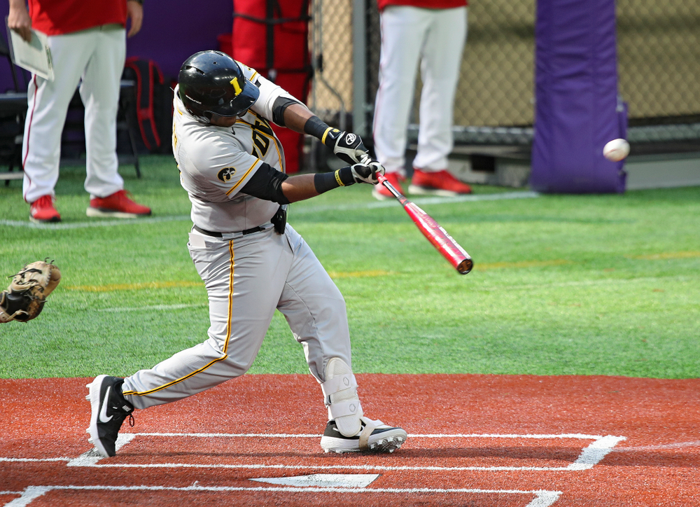 Iowa Hawkeyes infielder Izaya Fullard (20) bats during the fourth inning of their CambriaCollegeClassic game at U.S. Bank Stadium in Minneapolis, Minn. on Friday, February 28, 2020. (Stephen Mally/hawkeyesports.com)