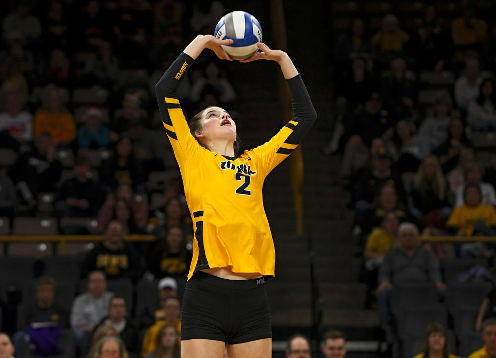 Iowa's Courtney Buzzerio (2) sets the ball during the first set of their match at Carver-Hawkeye Arena in Iowa City on Friday, Nov 29, 2019. (Stephen Mally/hawkeyesports.com)