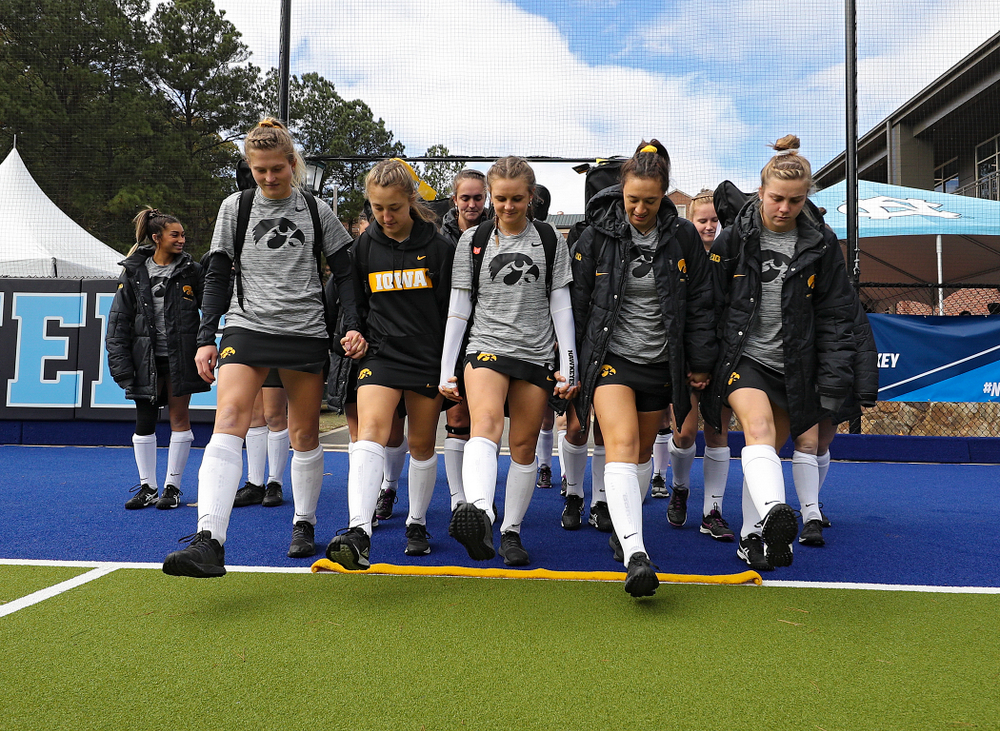 Iowa's Ellie Holley (7), Emily Deuell (2), Maddy Murphy (26), Mya Christopher (18), and Nikki Freeman (8) before their NCAA Tournament Second Round match against North Carolina at Karen Shelton Stadium in Chapel Hill, N.C. on Sunday, Nov 17, 2019. (Stephen Mally/hawkeyesports.com)