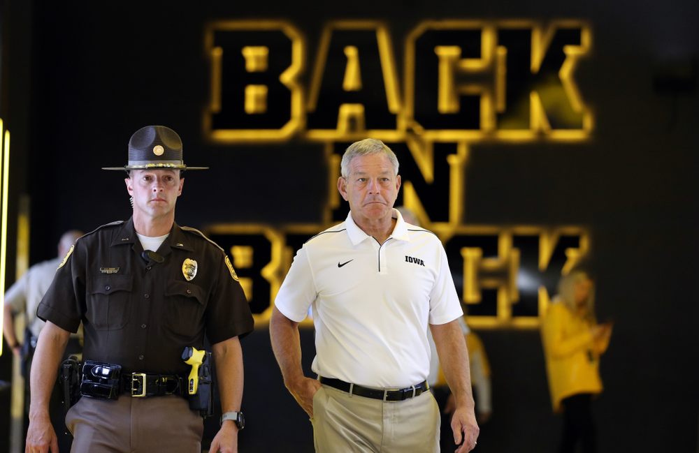 Iowa Hawkeyes head coach Kirk Ferentz against Middle Tennessee State Saturday, September 28, 2019 at Kinnick Stadium. (Brian Ray/hawkeyesports.com)