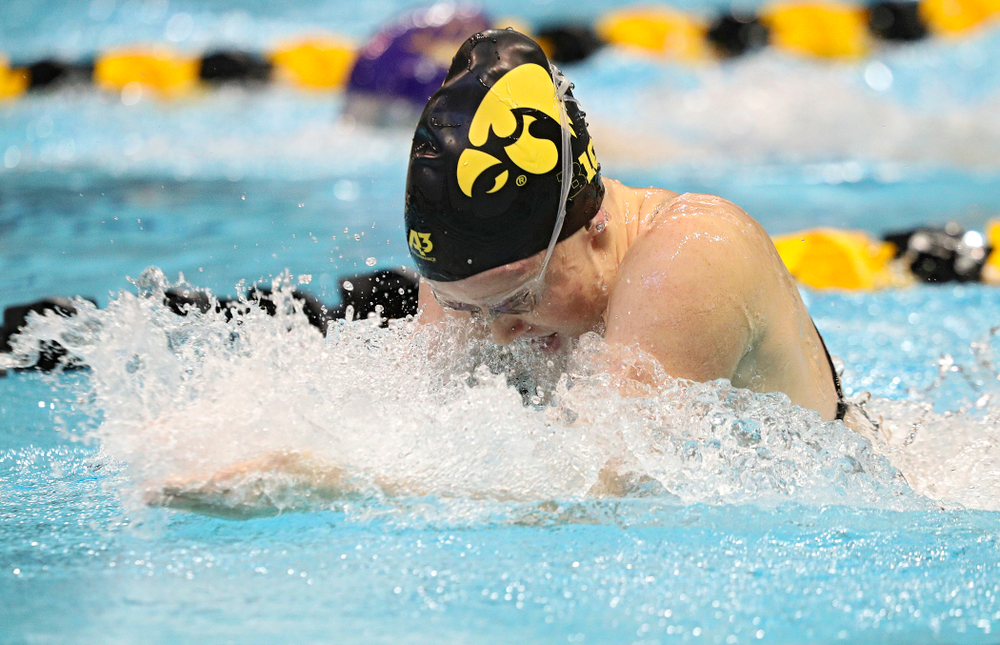 Iowa's Paige Hanley swims the breaststroke section of the women's 200-yard medley relay event during their meet against Michigan State and Northern Iowa at the Campus Recreation and Wellness Center in Iowa City on Friday, Oct 4, 2019. (Stephen Mally/hawkeyesports.com)