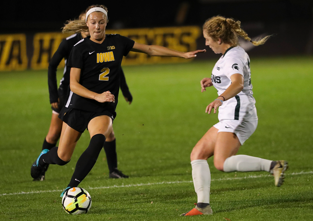 Iowa Hawkeyes midfielder Hailey Rydberg (2) dribbles the ball during a game against Michigan State at the Iowa Soccer Complex on October 12, 2018. (Tork Mason/hawkeyesports.com)