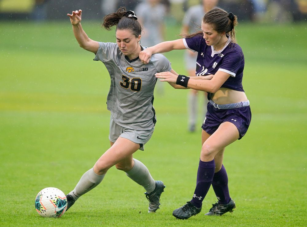 Iowa forward Devin Burns (30) moves with the ball during overtime of their match at the Iowa Soccer Complex in Iowa City on Sunday, Sep 29, 2019. (Stephen Mally/hawkeyesports.com)