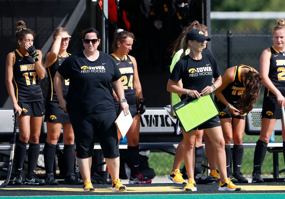 Iowa Hawkeyes head coach Lisa Cellucci and assistant coach Roz Ellis against Dartmouth Friday, August 31, 2018 at Grant Field.  (Brian Ray/hawkeyesports.com)