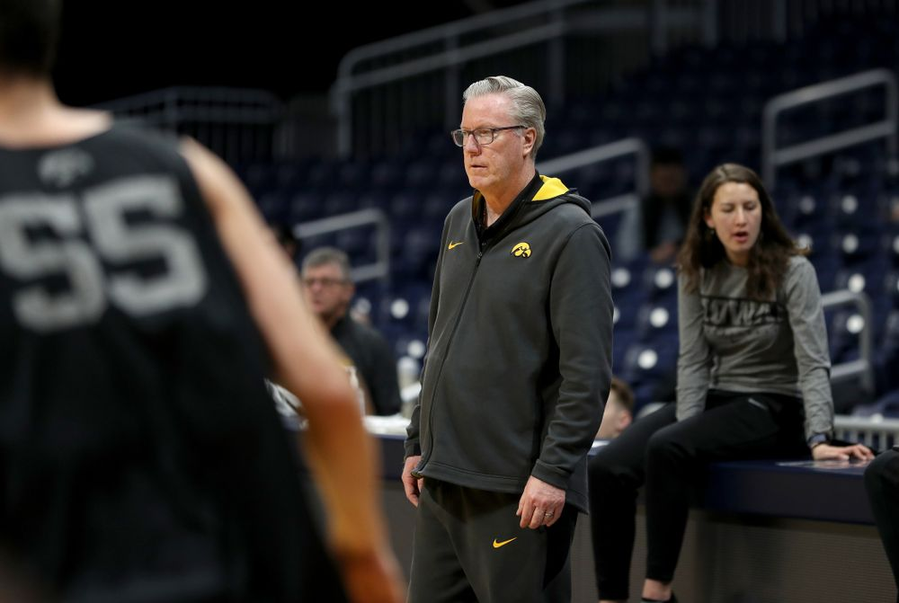 Iowa Hawkeyes head coach Fran McCaffery during practice at Hinkle Fieldhouse  Wednesday, March 11, 2020 in Indianapolis. (Brian Ray/hawkeyesports.com)