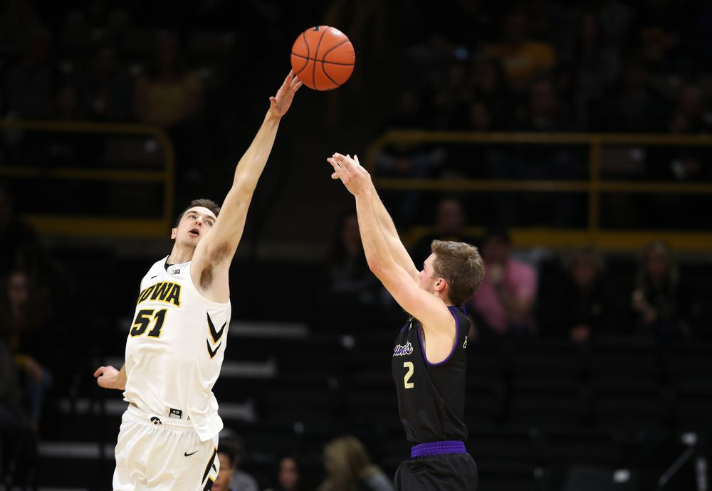 Iowa Hawkeyes forward Nicholas Baer (51) against the Western Carolina Catamounts Tuesday, December 18, 2018 at Carver-Hawkeye Arena. (Brian Ray/hawkeyesports.com)