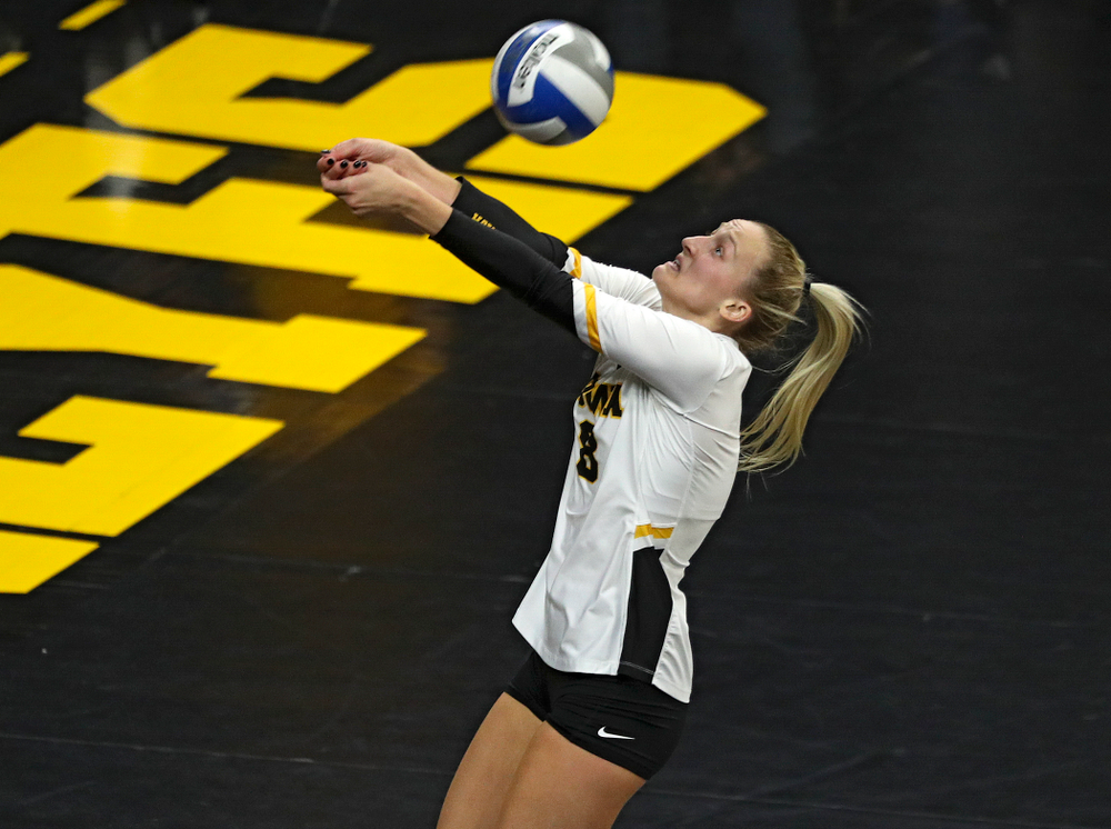 Iowa's Kyndra Hansen (8) eyes the ball during the third set of their volleyball match at Carver-Hawkeye Arena in Iowa City on Sunday, Oct 13, 2019. (Stephen Mally/hawkeyesports.com)