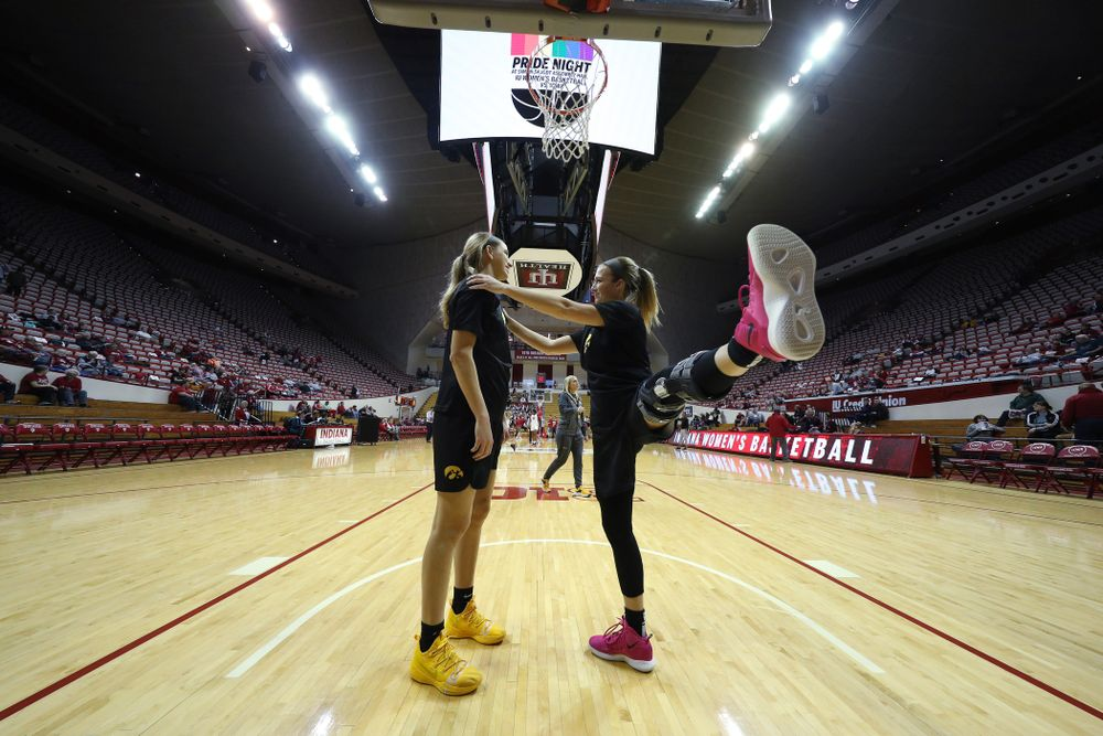 Iowa Hawkeyes forward Logan Cook (23) and guard Makenzie Meyer (3) against the Indiana Hoosiers Thursday, February 21, 2019 at Simon Skjodt Assembly Hall. (Brian Ray/hawkeyesports.com)