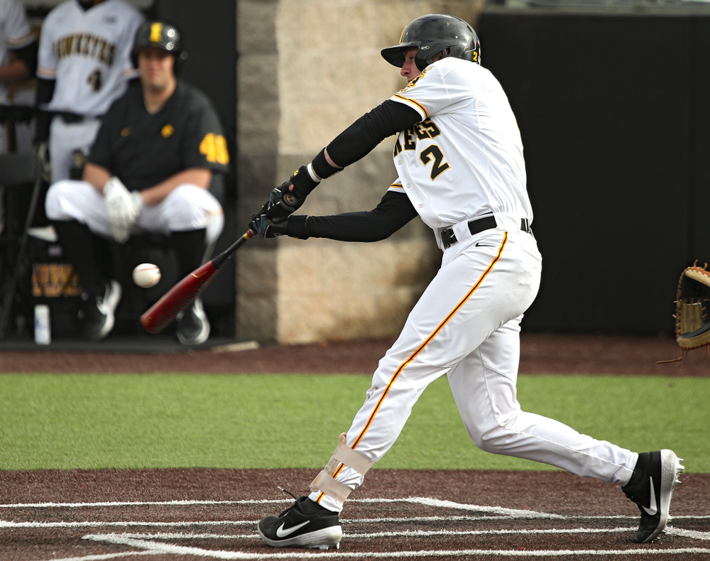 Iowa infielder Brendan Sher (2) bats during the sixth inning of their college baseball game at Duane Banks Field in Iowa City on Wednesday, March 11, 2020. (Stephen Mally/hawkeyesports.com)