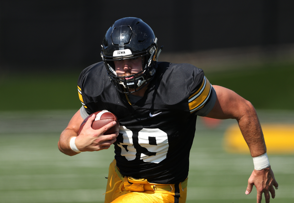 Iowa Hawkeyes tight end Nate Wieting (39) during Fall Camp Practice No. 5 Tuesday, August 6, 2019 at the Ronald D. and Margaret L. Kenyon Football Practice Facility. (Brian Ray/hawkeyesports.com)