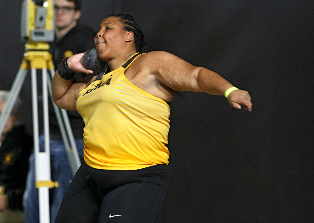 Iowa's Ianna Roach competes in the women's shot put event during the Hawkeye Invitational at the Recreation Building in Iowa City on Saturday, January 11, 2020. (Stephen Mally/hawkeyesports.com)