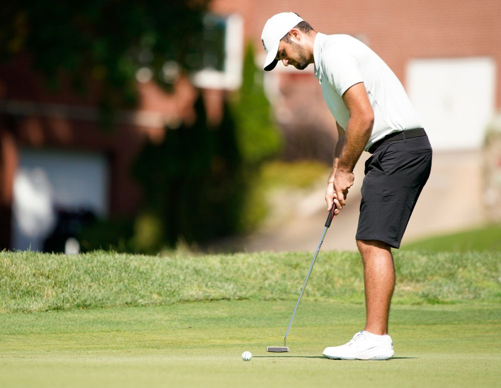 Iowa's Gonzalo Leal putts during the second day of the Golfweek Conference Challenge at the Cedar Rapids Country Club in Cedar Rapids on Monday, Sep 16, 2019. (Stephen Mally/hawkeyesports.com)