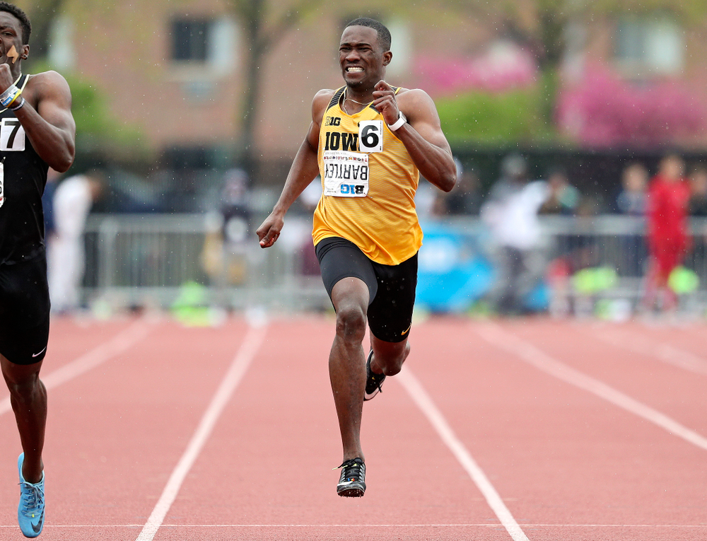 Iowa's Karayme Bartley runs the men's 200 meter dash event on the third day of the Big Ten Outdoor Track and Field Championships at Francis X. Cretzmeyer Track in Iowa City on Sunday, May. 12, 2019. (Stephen Mally/hawkeyesports.com)