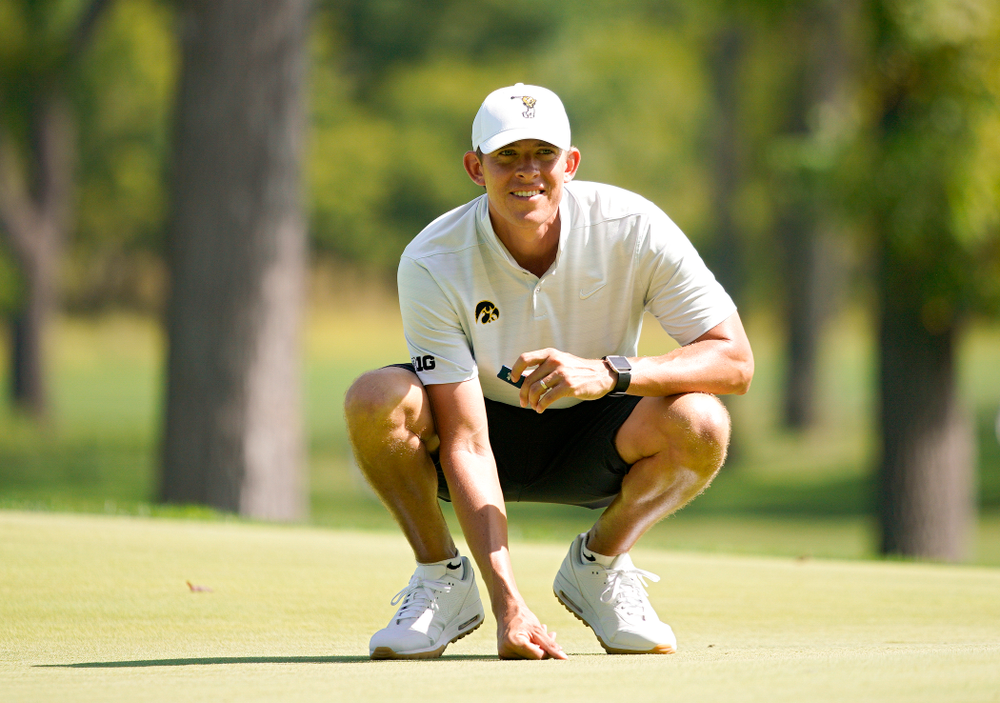 Iowa assistant coach Charlie Hoyle looks on during the second day of the Golfweek Conference Challenge at the Cedar Rapids Country Club in Cedar Rapids on Monday, Sep 16, 2019. (Stephen Mally/hawkeyesports.com)