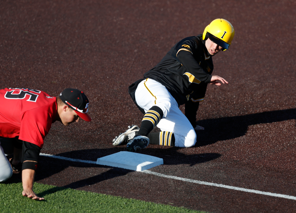 Iowa Hawkeyes outfielder Justin Jenkins (6) against Grand View Wednesday, April 4, 2018 at Duane Banks Field. (Brian Ray/hawkeyesports.com)