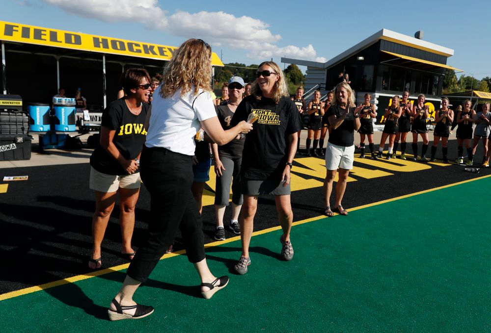 Former members of the Iowa Field Hockey team receive  their letters following the Iowa Hawkeyes game against the Penn Quakers Friday, September 14, 2018 at Grant Field. (Brian Ray/hawkeyesports.com)