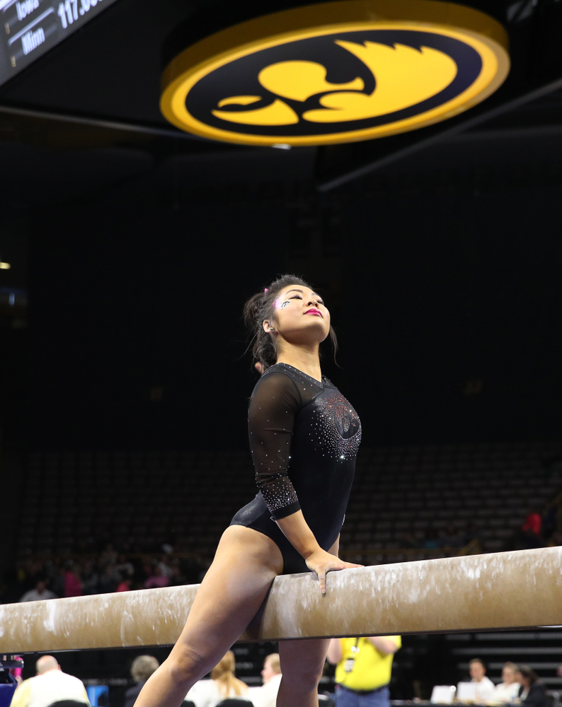 Iowa's Clair Kaji competes on the beam during their meet against the Minnesota Golden Gophers Saturday, January 19, 2019 at Carver-Hawkeye Arena. (Brian Ray/hawkeyesports.com)