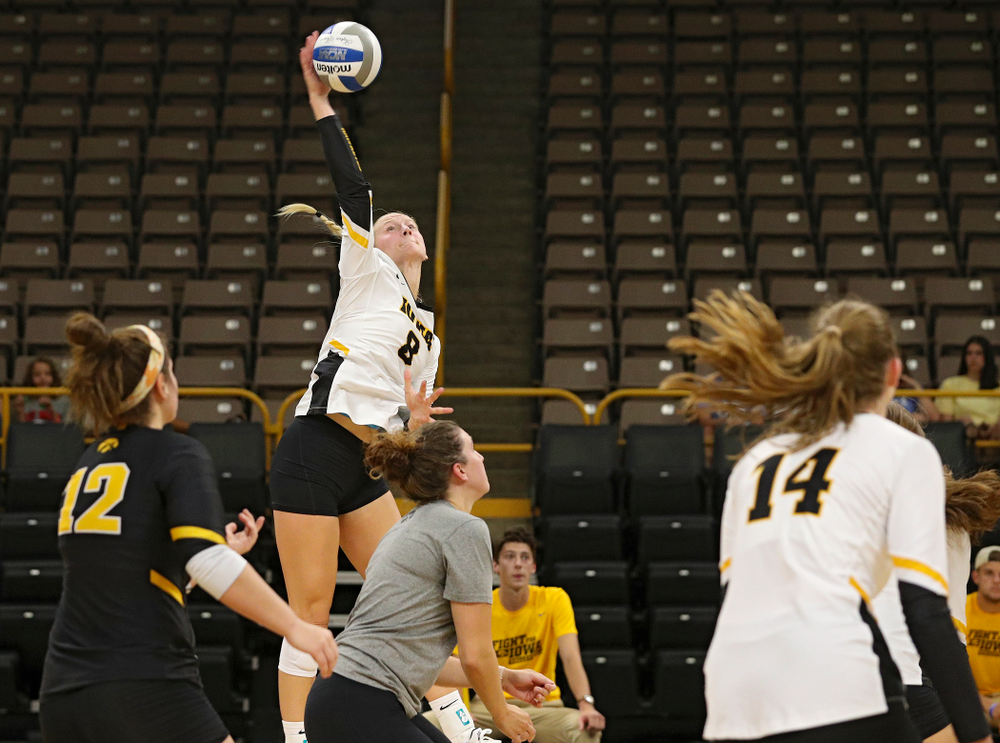 Iowa's Kyndra Hansen (8) during the second set of the Black and Gold scrimmage at Carver-Hawkeye Arena in Iowa City on Saturday, Aug 24, 2019. (Stephen Mally/hawkeyesports.com)
