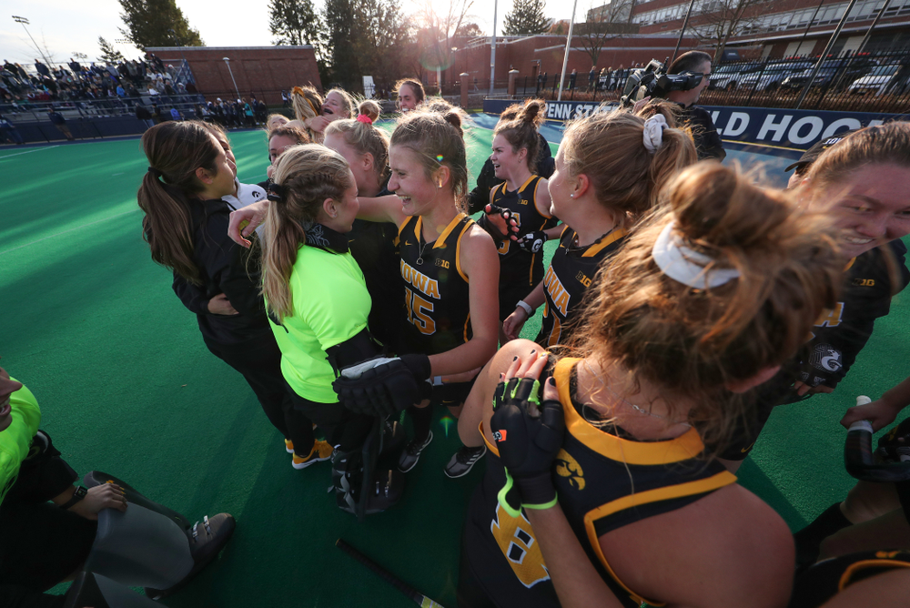 Iowa Hawkeyes Esme Gibson (15) and goaltender Leslie Speight (96) celebrate their victory over  Penn State in the 2019 Big Ten Field Hockey Tournament Championship Game Sunday, November 10, 2019 in State College. (Brian Ray/hawkeyesports.com)