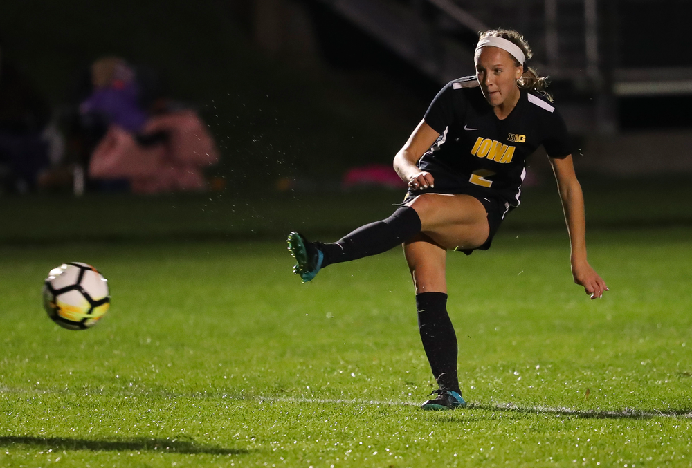 Iowa Hawkeyes midfielder Hailey Rydberg (2) scores a goal during a game against Michigan State at the Iowa Soccer Complex on October 12, 2018. (Tork Mason/hawkeyesports.com)