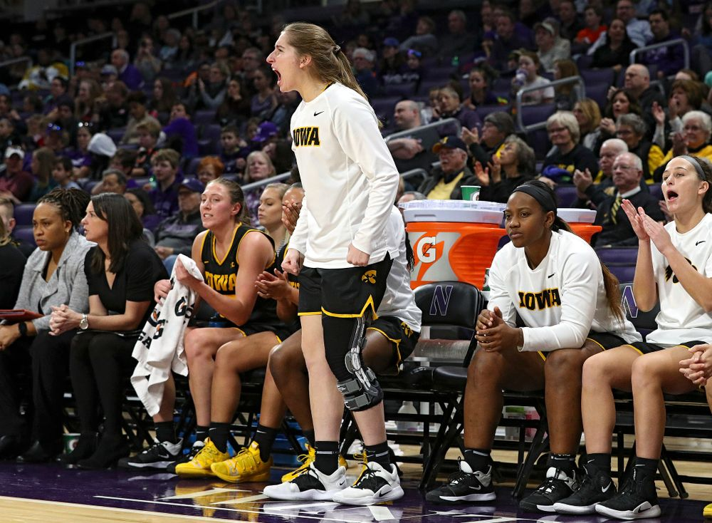 Iowa Hawkeyes guard Kate Martin (20) is pumped up after a score during the third quarter of their game at Welsh-Ryan Arena in Evanston, Ill. on Sunday, January 5, 2020. (Stephen Mally/hawkeyesports.com)
