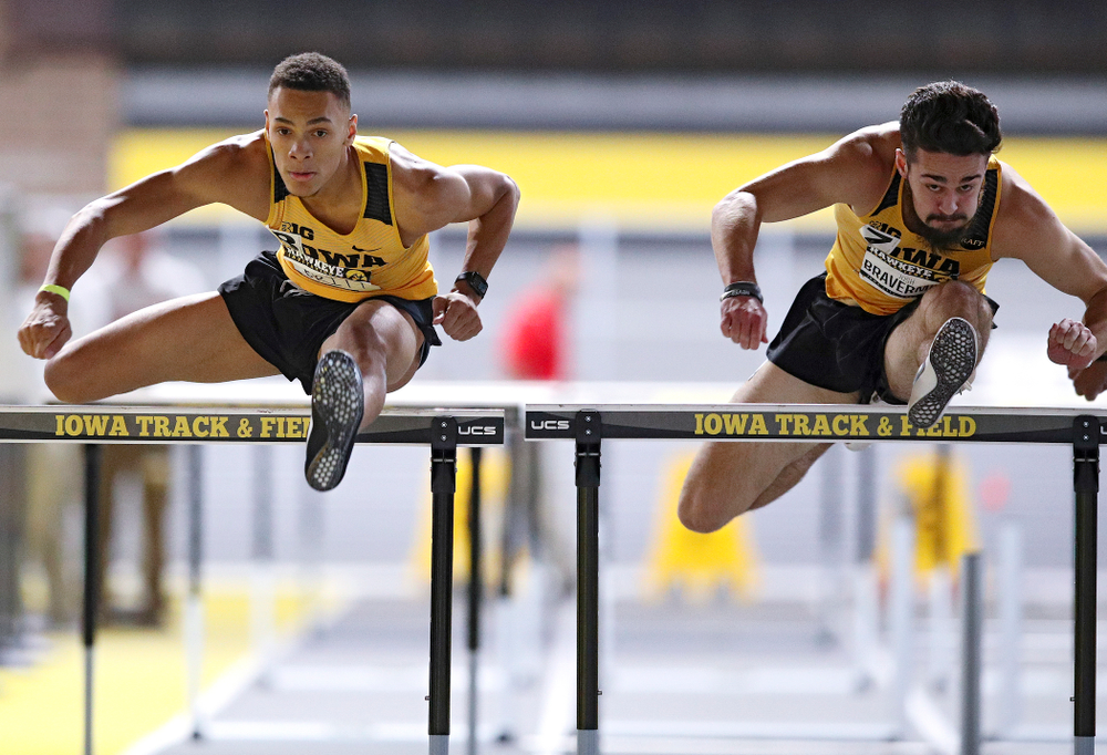Iowa's Jamal Britt runs in the men's 60 meter hurdles prelim event during the Hawkeye Invitational at the Recreation Building in Iowa City on Saturday, January 11, 2020. (Stephen Mally/hawkeyesports.com)
