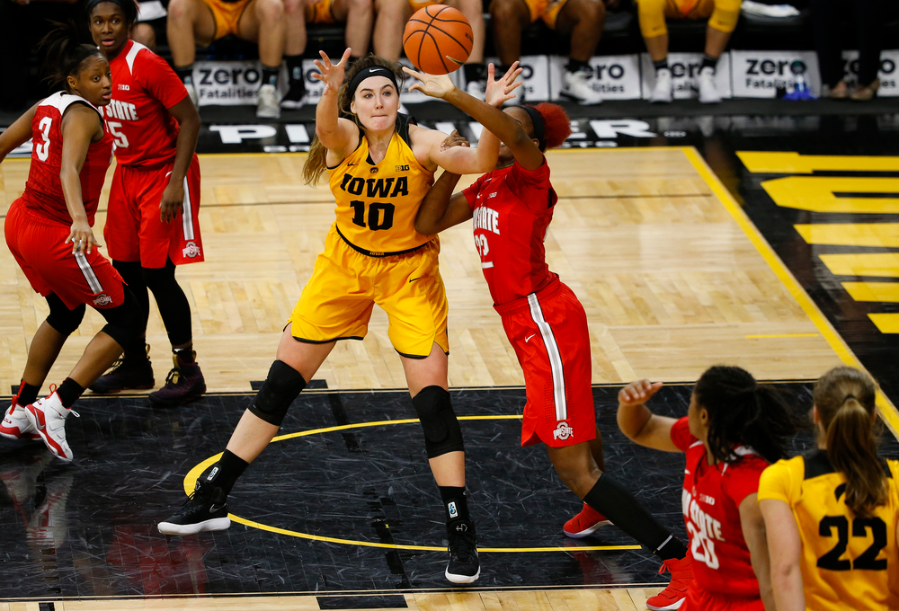 Iowa Hawkeyes forward Megan Gustafson (10) posts up during a game against the Ohio State Buckeyes at Carver-Hawkeye Arena on January 25, 2018. (Tork Mason/hawkeyesports.com)