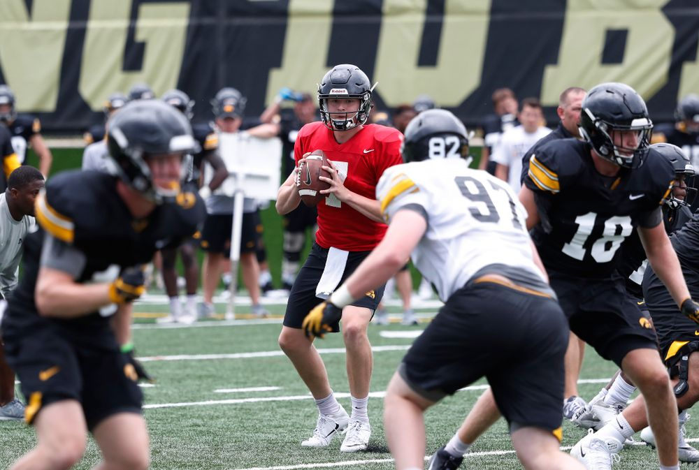 Iowa Hawkeyes quarterback Spencer Petras (7) during practice No. 4 of Fall Camp Monday, August 6, 2018 at the Hansen Football Performance Center. (Brian Ray/hawkeyesports.com)