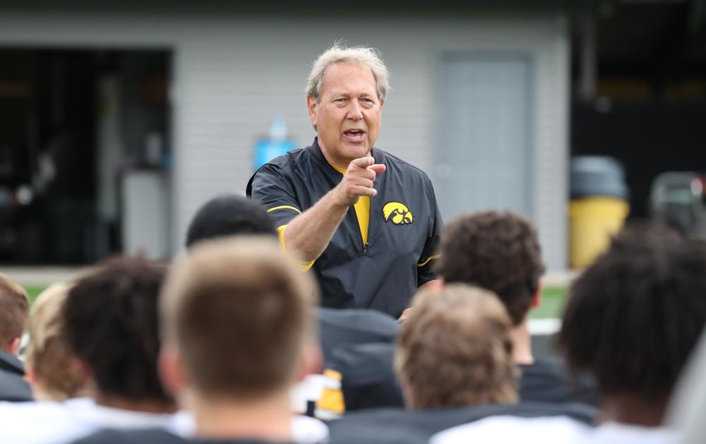 University of Iowa President, Bruce Harreld, visits today's practice