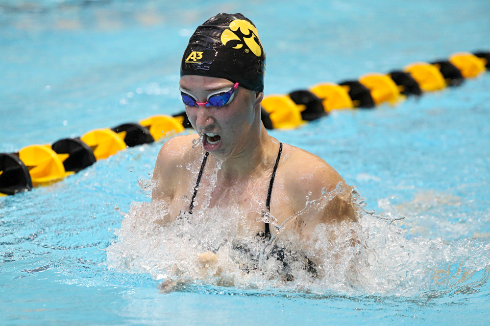 Iowa's Zoe Mekus swims the women's 200-yard breaststroke event during their meet against Michigan State and Northern Iowa at the Campus Recreation and Wellness Center in Iowa City on Friday, Oct 4, 2019. (Stephen Mally/hawkeyesports.com)