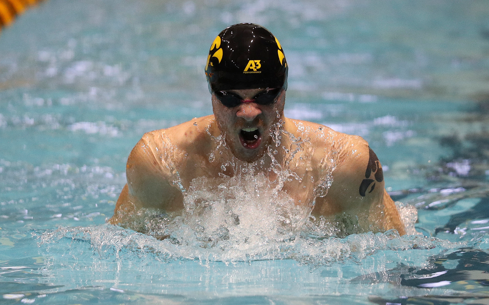 Iowa's Tanner Nelson competes in the 100-yard breaststroke during the third day of the Hawkeye Invitational at the Campus Recreation and Wellness Center on November 16, 2018. (Tork Mason/hawkeyesports.com)